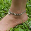 Hand Made Fair Trade Anklet Double Strand Silver White Beads Elephant
