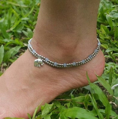 Hand Made Fair Trade Anklet Double Strand Silver Grey Beads Elephant