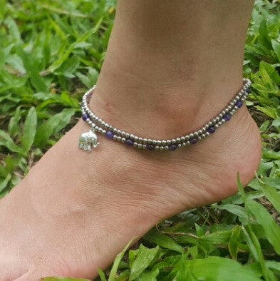 Hand Made Fair Trade Anklet Double Strand Silver Grape Beads Elephant