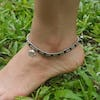 Hand Made Fair Trade Anklet Double Strand Silver Black Beads Elephant