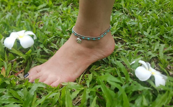 Hand Made Fair Trade Anklet Double Strand Silver Turquoise Beads Elephant