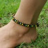 Hand Made Fair Trade Anklet Double Strand Brass Beads Multi