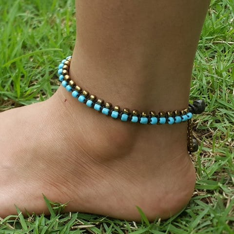 Hand Made Fair Trade Anklet Double Strand Brass Beads Blue