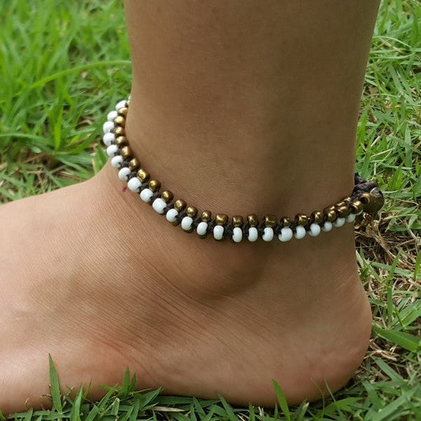 Hand Made Fair Trade Anklet Double Strand Brass Beads White