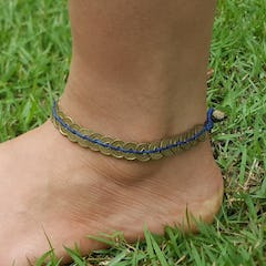 Silver Tube Braided Waxed String Anklet in Purple