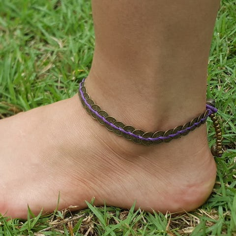 Hand Made Fair Trade Anklet Antique Coins Purple
