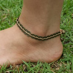 Triple Brass Beads Anklet with Brass Beads