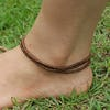 Hand Made Fair Trade Anklet Three Strand Beads Copper