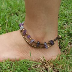 Hand Made Brass Bell Waxed Anklets in Mustard