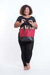 Upcycled Tote Bag Rubber Canvas Red