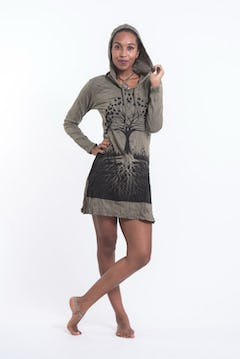 Sure Design Womens Tree of Life Hoodie Dress Purple