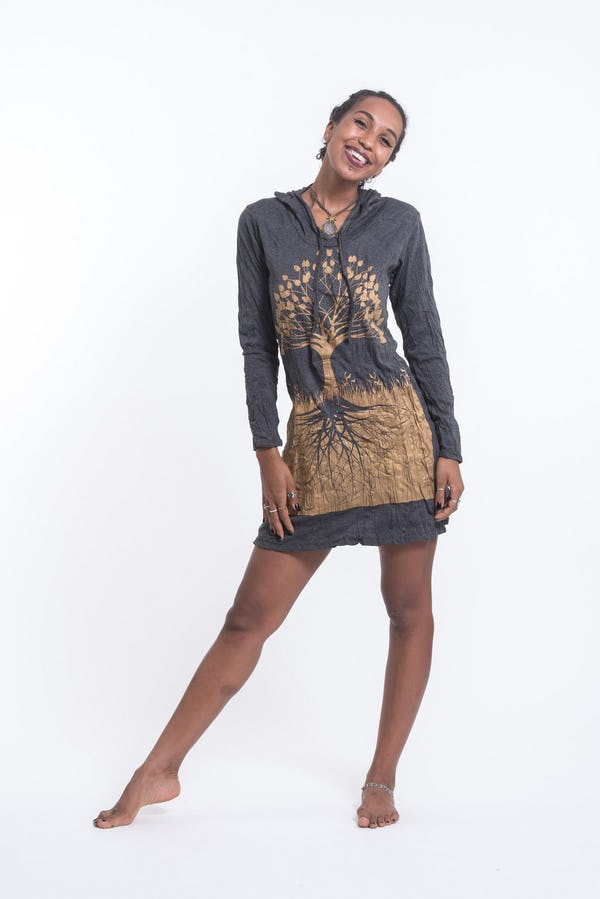 Sure Design Womens Tree of Life Hoodie Dress Gold on Black