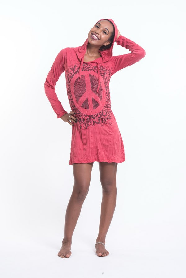 Sure Design Womens Peace Sign Hoodie Dress Red