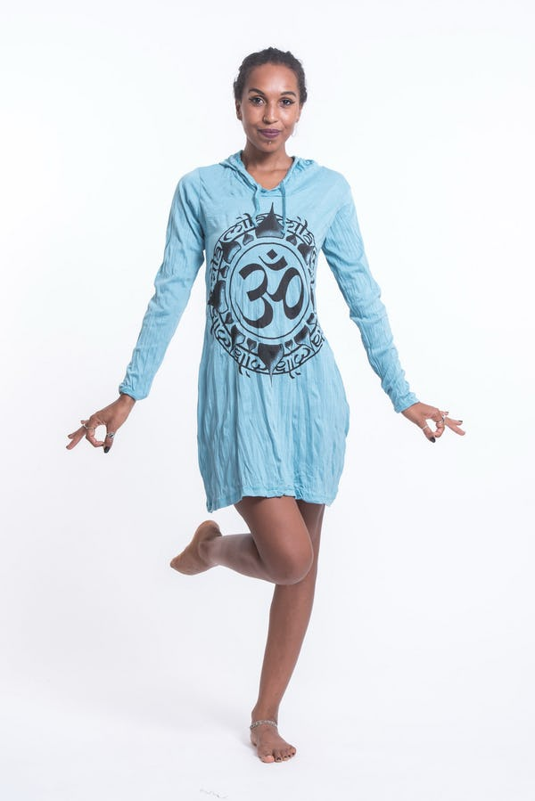 Womens Infinitee Om Hoodie Dress in Turquoise
