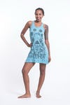 Sure Design Womens Octopus Chakras Tank Dress Turquoise