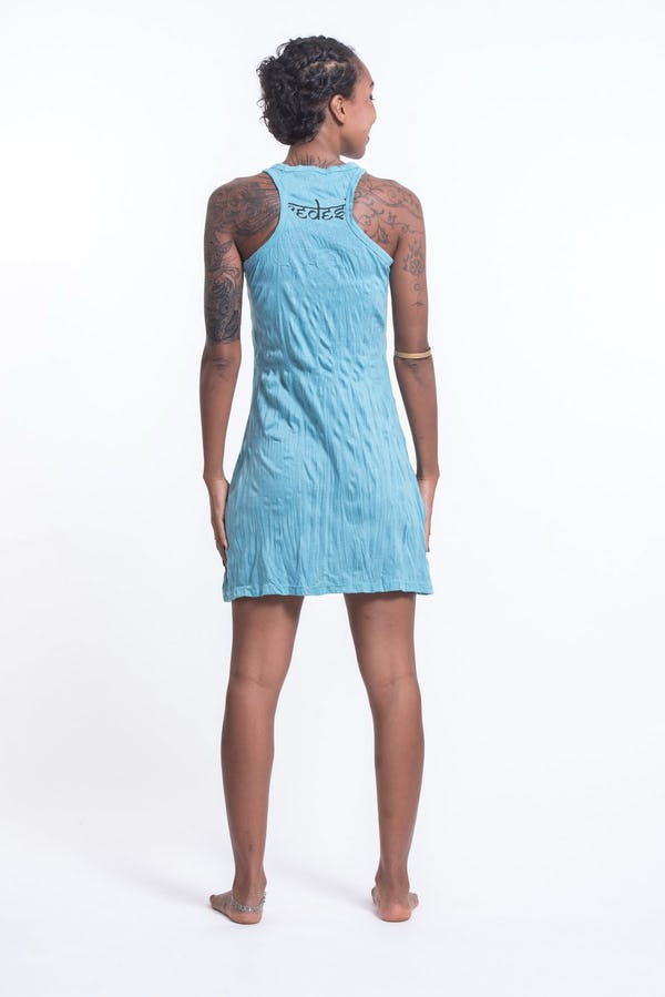 Womens Octopus Chakras Tank Dress in Turquoise