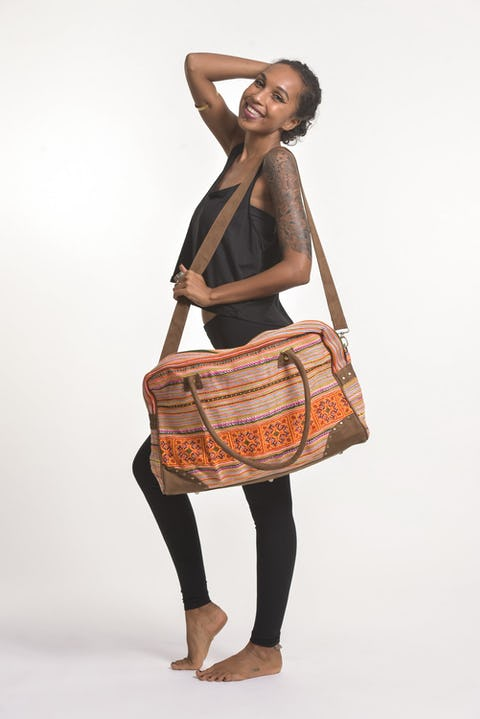 Hmong Hill Tribe Embroidered Travel Bag in Orange