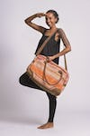 Orange Embroidered Hill Tribe Travel Bag