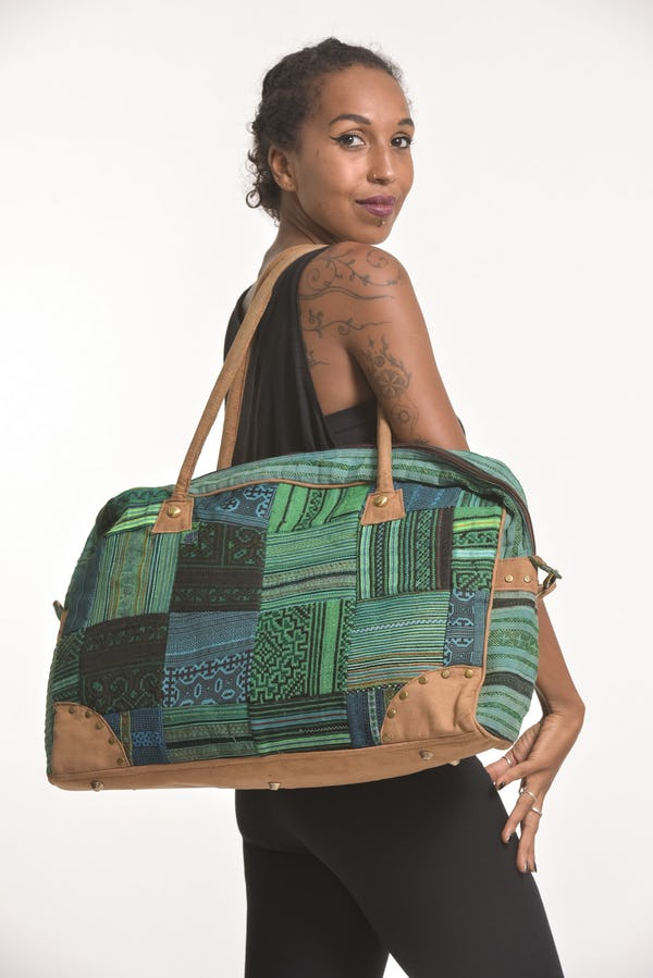 Green Embroidered Hill Tribe Patchwork Travel Bag