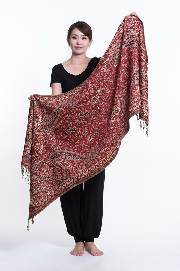 Floral Paisley Nepal Hand Made Pashmina Shawl Scarf Maroon