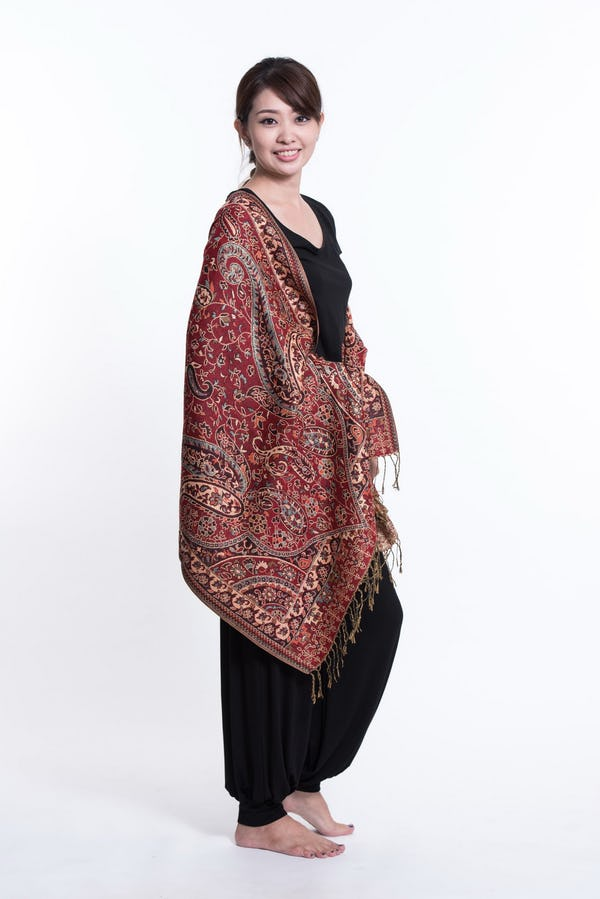 Nepal Traditional Paisley Pashmina Shawl Scarf in Red