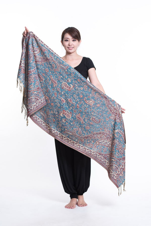 Floral Paisley Nepal Hand Made Pashmina Shawl Scarf Turquoise