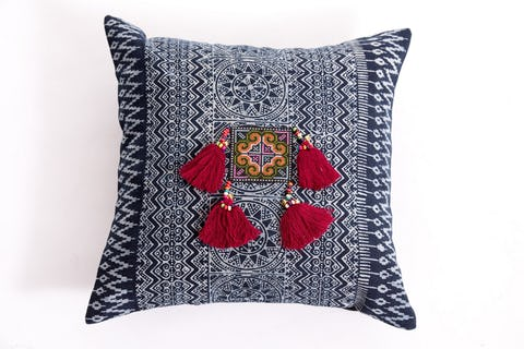 Hill Tribe Indigo Cotton Pillowcase with Beautiful Maroon Tassels