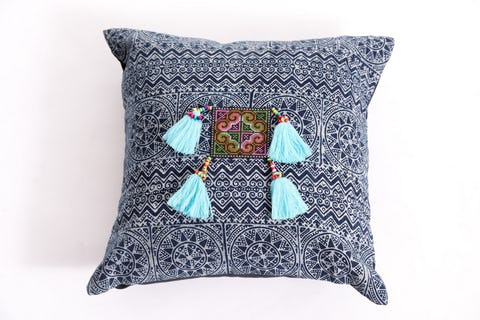 Hill Tribe Indigo Cotton Pillowcase with Beautiful Light Blue Tassels