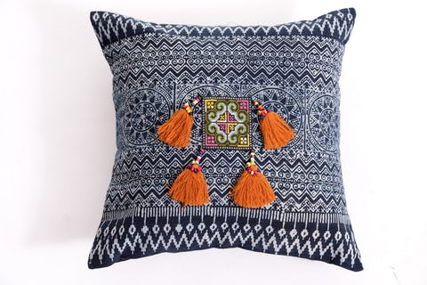 Hill Tribe Indigo Cotton Pillowcase with Beautiful Orange Tassels