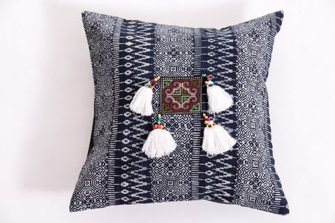 Hill Tribe Indigo Cotton Pillowcase with Beautiful White Tassels