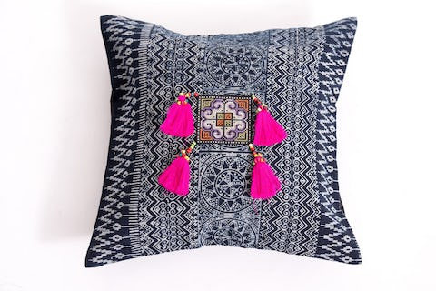 Hill Tribe Indigo Cotton Pillowcase with Beautiful Pink Tassels