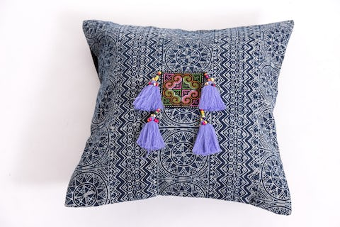 Hill Tribe Indigo Cotton Pillowcase with Beautiful Violet Tassels