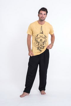 Sure Design Mens Tree Of Life T-Shirt Yellow