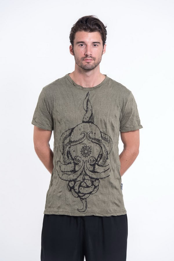 Sure Design Mens Octopus Mandala T-Shirt Green