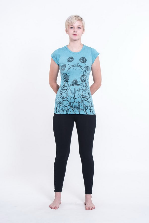 Womens Octopus Chakras T-Shirt in Turquoise