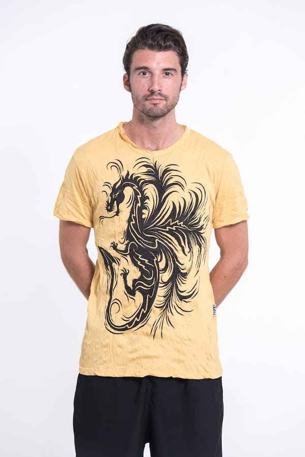 Sure Design Mens The Dragon T-Shirt Yellow