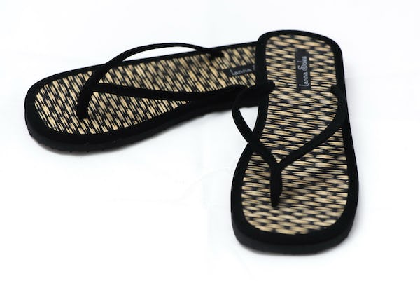 Black and Natural Reed Sandals