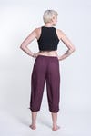 Women's Dark Purple Super Soft Cotton Yoga Cropped Pants