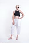 Womens Solid Color Drawstring Cropped Pants in White