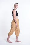 Womens Solid Color Drawstring Cropped Pants in Cream