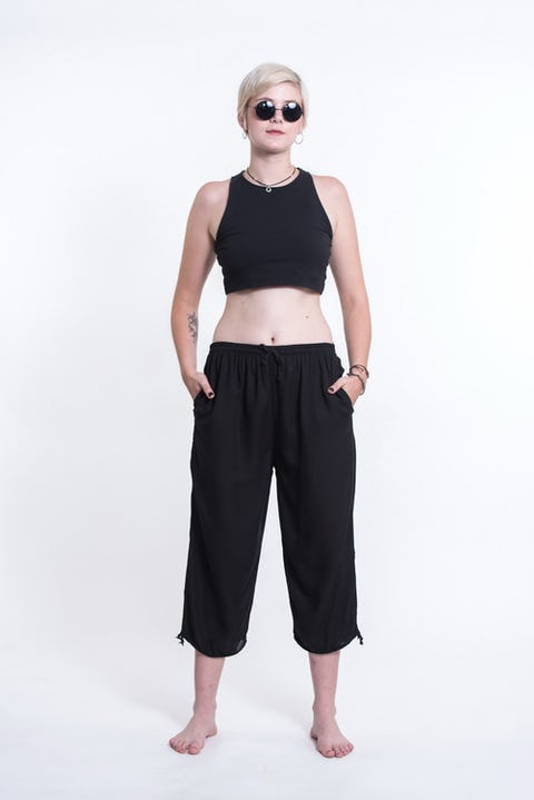 Womens Solid Color Drawstring Cropped Pants in Black