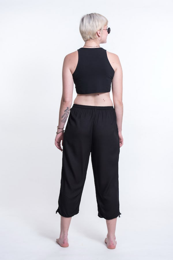 Women's Black Super Soft Cotton Yoga Cropped Pants