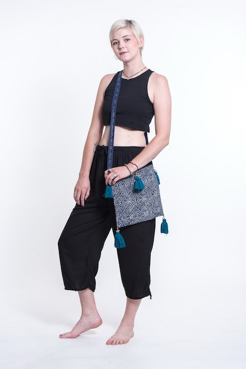 Hill Tribe Crossbody Bags with Beautiful Teal Tassels