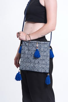 Thai Tattoo Oversize Drawstring Shoulder Bag  in Denim Gray