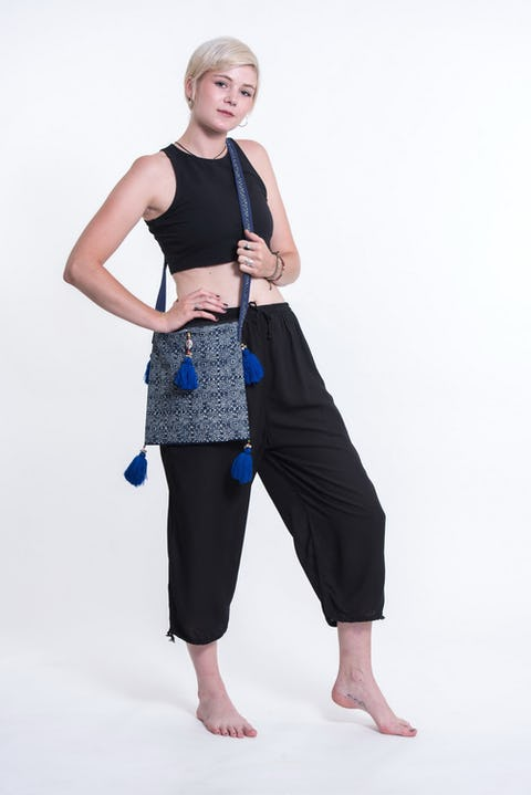 Hill Tribe Crossbody Bags with Beautiful Blue Tassels