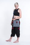 Hmong Indigo Batik Crossbody Sling Bag with Maroon Tassels