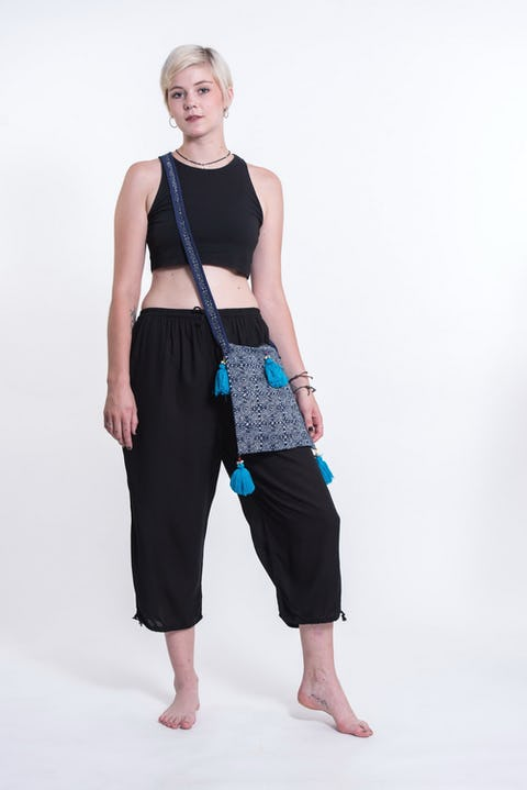 Hill Tribe Crossbody Bags with Beautiful Turquoise Tassels