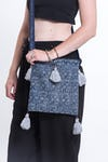 Hmong Indigo Batik Crossbody Sling Bag with Gray Tassels