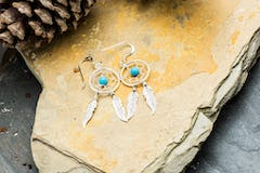 Sterling Silver Thai Earrings Mother of Pearl