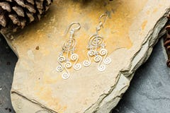 Sterling Silver Thai  Earrings Classic Om